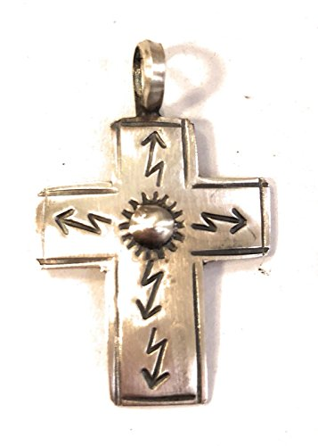 Nizhoni Traders LLC Navajo Hand Stamped Sterling Silver Cross Necklace from Nizhoni Traders LLC