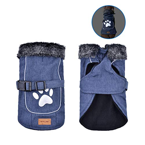 Dog Winter Clothes Waterproof Reflective Cold Weather Jacket for Outdoor Indoor Activities (Blue L)