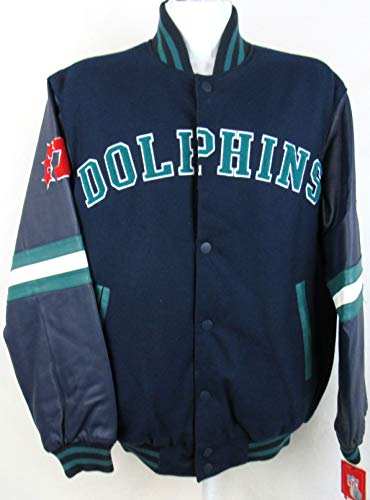 G-III Sports Mens Miami Dolphins Snap Closure Wool and Leather Reversible Jacket with Embroidered Graphics, Size Medium - Miami Dolphins Reversible Jacket