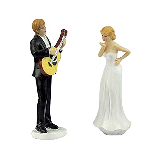 LingStar Love Romantic Guitar Bride and Groom Wedding Cake Topper Proposal Couple Figurine Resin Decoration by Lingstar