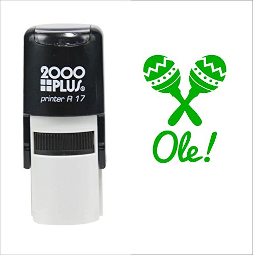 Custom Product Solutions Cinco De Mayo (May 5th) Ole! Maracas Mexican Celebration 2000 Plus Self Inking Rubber Stamp - Green Ink