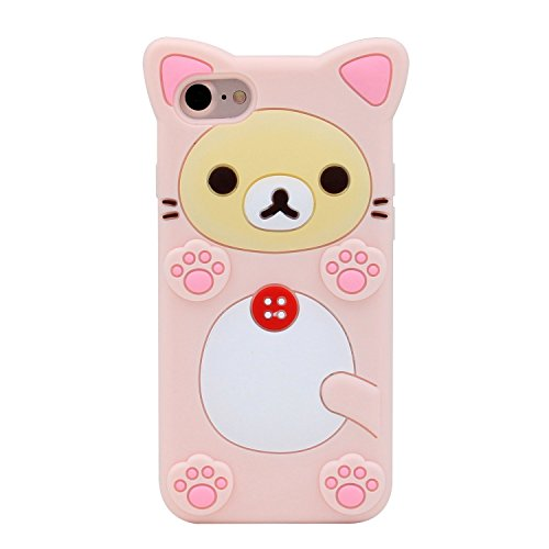 Funermei Pink Bear Case for iPhone SE,5S 5C 5,Silicone 3D Cartoon Animal Cover,Kids Girls Cool Fun Lovely Cute Cases,Kawaii Soft Gel Rubber Unique Character Fashion Funny Protector for iPhone 5/5S/5C (I Phone 5c Case Teddy Bear)