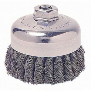 "Weiler Wire Cup Brush, Threaded Hole, Steel, Partial Twist Knotted, Single Row, 5"" Diameter, 0.023"" Wire Diameter, 5/8""-11 Arbor, 1-3/8"" Bristle Length, 7000 rpm (Pack of 1)"