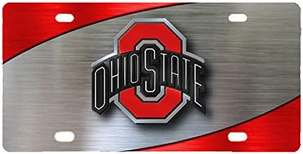 Ohio State Buckeyes Diecast O and Ohio State 3D Logo License Plate