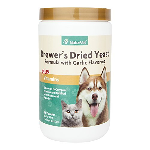 NaturVet - Brewer's Dried Yeast Formula with Garlic Flavoring - Plus Vitamins | Supports Healthy Skin & Glossy Coat | Fortified with B-1, B-2, Niacin & Vitamin C | for Dogs & Cats | 1 lb Powder