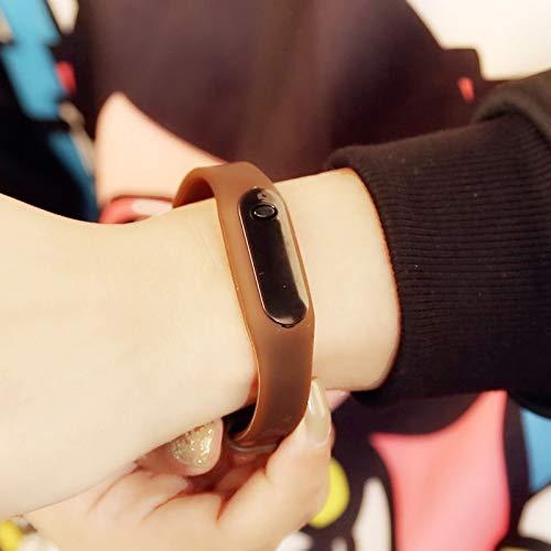 led Touch-Screen Non-Smart Bracelet Bangle Sport Watch Men Women Watch Lover Watch Children Watch Girl Student Waterproof Electronic Watch (Sport - Chocolate Brown + Send Watch Box