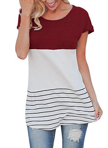 Dokotoo Womens Color Striped Sleeve