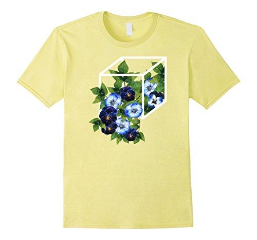 Mens Box Cube With Flowers Aesthetic Edgy Geometric Shirt Medium Lemon
