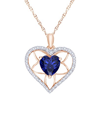 Heart Cut Simulated Blue Sapphire & 0.125 CT Diamond Floral Heart Pendant Necklace in 10K Solid Gold (Heart 0.125 Ct)