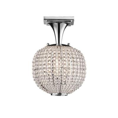 Ball Semi Flush - Hampton Bay Bellefont 1-Light Polished Nickel Crystal Ball Semi-Flush Mount