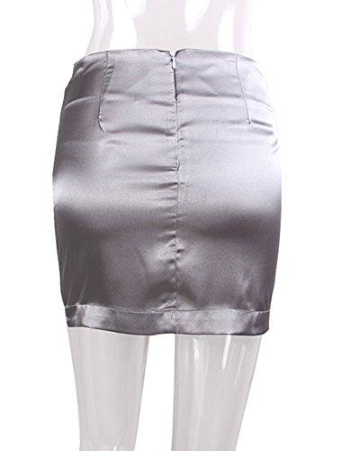 Couleur Topsone Party Jupe Mini Taille Fashion Jupes Femme Unie Haute Soirees de Gris Slim Moulante Hanche Sexy Package qwqxZnA