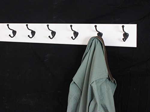 White Wall Mounted Coat Rack with Bronze Hooks 4.5'' Ultra Wide (30.5 x 4.5'' with 6 Hooks) by PegandRail (Image #1)