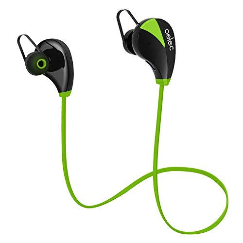 Bluetooth Headphones,aelec Wireless Bluetooth Earbuds in-Ear Sports Sweatproof Earphones Noise Cancelling Headsets with Mic for Running Jogging,Green