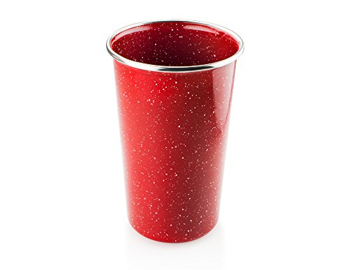 - GSI Outdoors Pioneer Pint Glass, 17 Ounce Stainless Steel Rim Red Enamelware Tumbler
