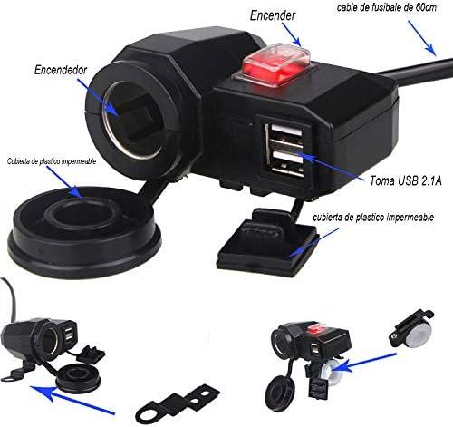 Bexcellent Moto 5/V 2.1/A//2.1/A imperm/éable Chargeur USB Briquet de Cigarettes 12/V Prise de Courant avec Interrupteur dallumage