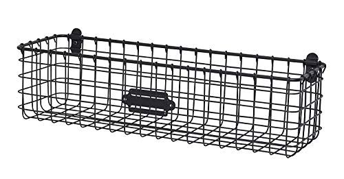 Spectrum Vintage Wall Mount Storage Basket, Industrial Gray
