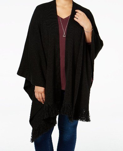 Style & Co. Womens Plus Fringed Knit Wrap Sweater Black 0X/1X