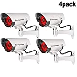 QLPP Fake Security Camera,CCTV Fake Dome Camera,Dummy Fake Security Camera,with 30 Illuminating LEDs, for House, Shopping Mall, Restaurant,4pack