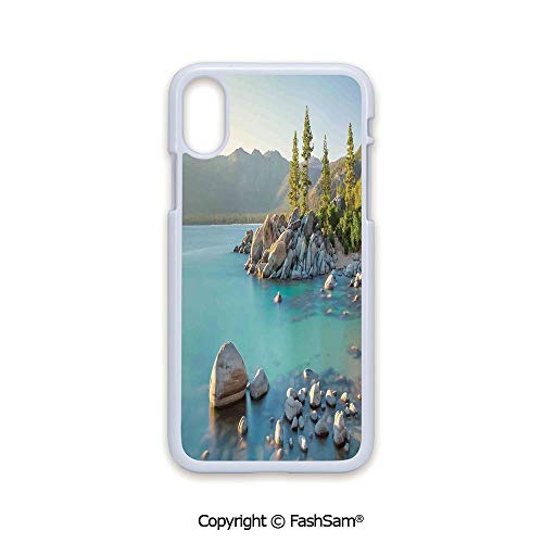 Phone Case Compatible with iPhone X Black Edge Pastoral Spring Time Scenery in Provincial Countryside Lake Beach Shallow Water Theme 2D Print Hard Plastic Phone Case