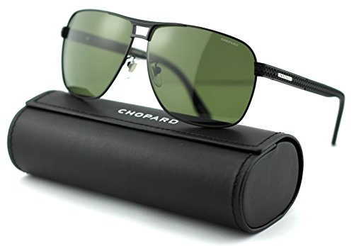 Chopard SCH B79 Unisex Aviator Metal Sunglasses (Black Matte Frame/Green Polarized Lenses 531P) ()