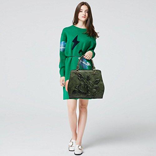 Tote mano tridimensionale verde a B Stampa Pu Portafoglio a Doris da Borsa donna tracolla Leather Borsa Nicole Marrone BqUvw1