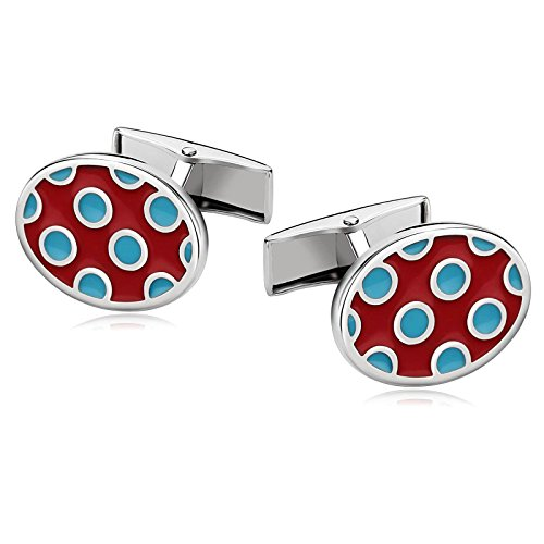 Aooaz Mens Stainless Steel Cufflinks Oval 2 Color Round Dots Enamel Red Blue Cufflinks With Gift Box