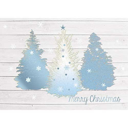 Paper Magic Group Blue and Gold Christmas Trees 'Merry Christmas' Cards, Set of 12, 5