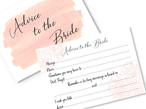 20 x Advice to the Bride Cards Hen Party Game - A6 Postcard Style - Pink Watercolour Floral Design