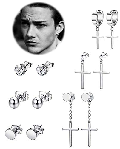 REVOLIA 6 Pairs Stainless Steel Dangle Cross Stud Earrings for Men Women Hoop Earrings Huggie Vintage Ear Piercing Silver-tone