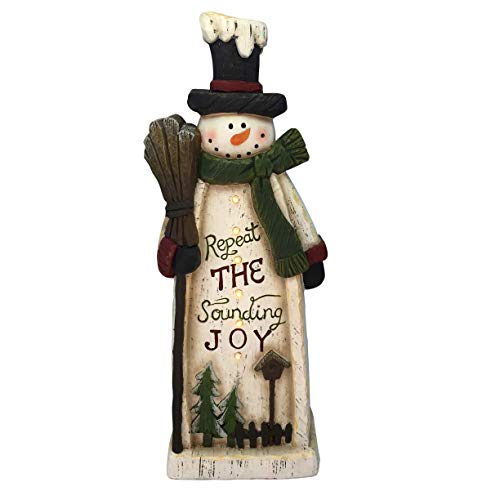 Alpine Corporation BEH128HH-TM Wooden Christmas Snowman Statue with LED Lights Festive Holiday Décor, 23-Inch Tall, Multicolor ()