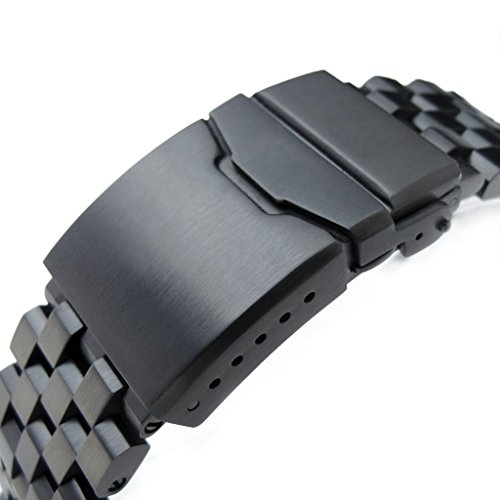 22mm Super Engineer II Solid SS Straight End Watch Band, Button Chamfer, PVD Black by 22mm Metal Band by MiLTAT (Image #2)