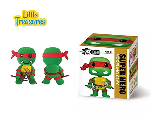 super-hero Ninja Turtle Clay modeling and sculpting DIY play-set create your favorite cartoon characters with molding play-dough kit - a fun arts and craft children toy project clean safe - (Cartoons Characters)