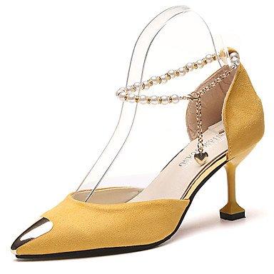 Grün 5 Gelb Heel Absatz PU High LvYuan ggx Heels Sommer yellow 5 Kleid Damen cm 4 2 Schwarz Kitten 86wx7Pwp