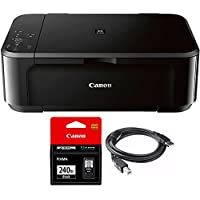 Canon Pixma MG3620 Wireless Inkjet All-In-One Multifunction Printer (0515C002) with Canon Genuine Black Ink Cartridge & General Brand High Speed 6-foot USB Printer Cable
