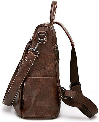 Sac à dos décontracté,Sac à dos pour femme Anti-vol Retro College Bag Loisirs Voyage Sac à bandoulière en cuir Sac à dos en cuir brun Daypack