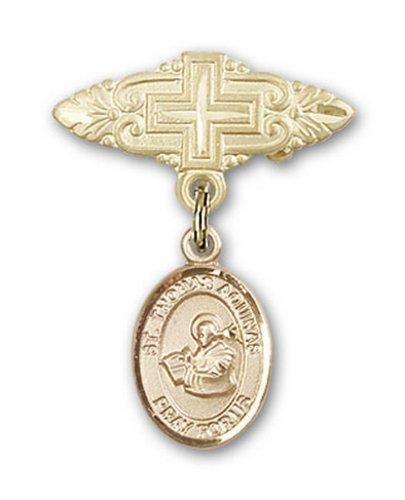Icecarats Or Bijoux De Créateurs Rempli R. Thomas D'Aquin Broche De Badge Charme Avec Une Croix X 3/4