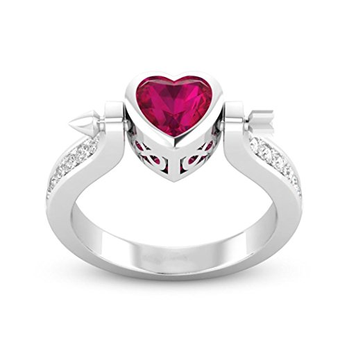 Hot Sale! Cute Chic Lover Cupid Arrow Heart Shaped Ruby Diamond Band Ring For Women Valentines Gift (Silver, 7) ()