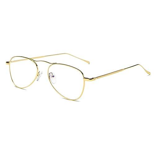 Hombres Mujeres Gafas Óvalo – Gafas de Lentes Transparentes Anteojos de Moda Retro Filtro Azul Anteojos para Lectura/Trabajo/Entretenimiento