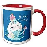 3dRose Uta Naumann Sayings and Typography - Cute Teal Watercolor Animal Illustration - Bunny - Always Teatime - 15oz Two-Tone Red Mug (mug_289940_10)