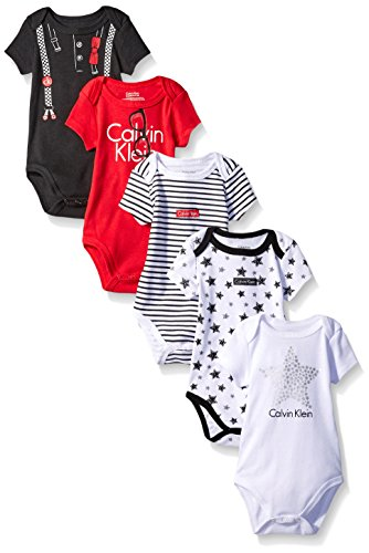 Calvin Klein Baby Boys' Assorted Short Sleeve Bodysuit, Red/Black/Stars, 0-3 Months (Pack of 5) (Joker Suit For Sale)