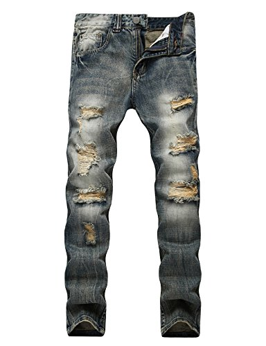 Vintage Fit Denim - Men's Ripped Distressed Destroyed Straight Fit Washed Denim Jeans (36, Vintage Blue)