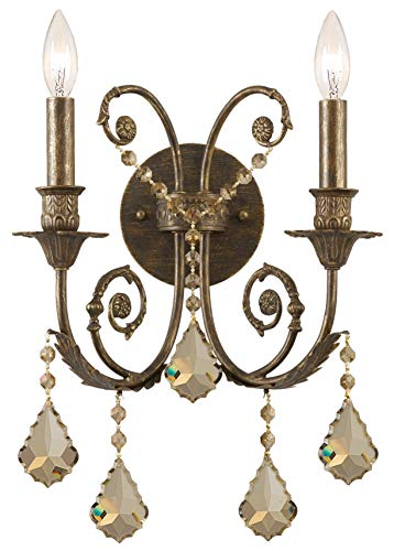 Traditional Classic 2 Light Crystal Candle Wall Sconce Crystal: Golden Teak Swarovski Strass, Finish: English Bronze