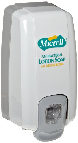 Micrell Nxt Antibacterial Lotion Soap (GOJO 212506 MICRELL NXT Lotion Soap Dispenser, 1000mL, 5 1/8w x 3 3/4d x 10h, Dove Gray)