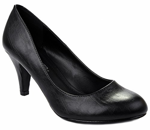 Kayson Black PU Classic Simple Round Toe Mid Heel Formal Dress Pump (Classic Black Material)