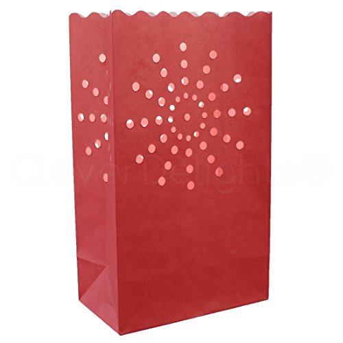 20 Pk - CleverDelights Red Luminary Bags - Sunburst - Flame Resistant Luminaria - Wedding Christmas