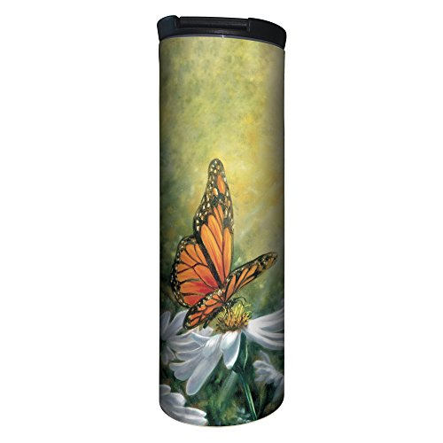 Tree-Free Greetings BT20503 Barista Tumbler Vacuum Insulated, Stainless Steel Travel Coffee Mug/Cup, 17 Ounce, Monarch Butterfly