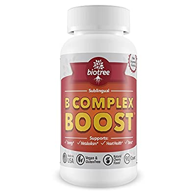 Vitamin B12 Sublingual -- B Complex Energy Pill with B12 Methylcobalamin, B6, Biotin, and Folic Acid. Natural Energy Supplement Supports Metabolism, Heart Health & Stress. Great Tasting Cherry Flavor! 100% Caffeine Free for Men & Women.