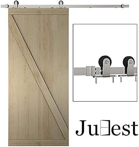Juego de rieles de acero de níquel satinado para puerta corredera, 2 x 3 pies: Amazon.es: Bricolaje y herramientas
