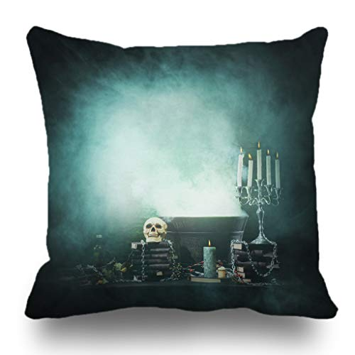 Batmerry Halloween/Thanksgiving Theme Decorative Pillow Covers 18 x 18 inch,Halloween Gothic Horror Books Bottle Candles Dark Evil Fantasy Throw Pillows Covers Sofa Cushion Cover Pillowcase