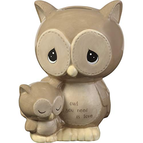 Precious Moments Owl You Need is Love Ceramic Piggy 183402 Bank, One Size, Multi -